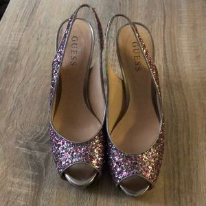 Guess Sparkly Sling Back Heels